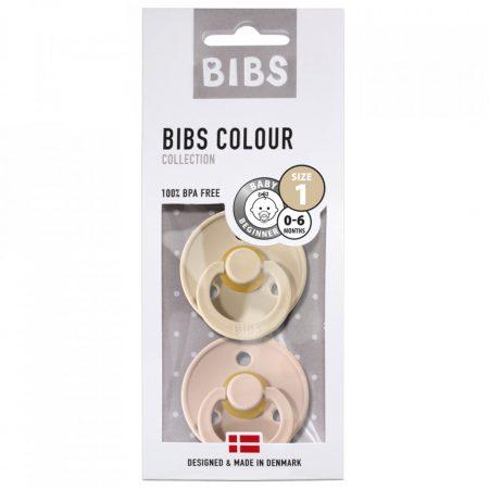 אריזה מקורית של שני מוצצי ביבס- צבע סומק וצבע וניל. מידה 0-6 חודשים