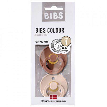 אריזה מקורית של שני מוצצי ביבס- צבע סומק וצבע סחלב. מידה: 0-6 חודשים