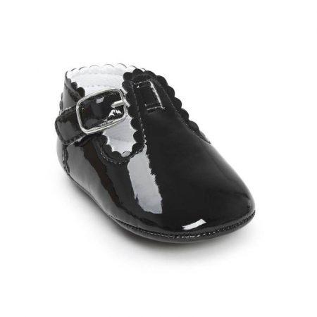 נעל אלגנטית לתינוקת. נעל עמנואל בצבע שחור. מידה: 12-18 חודשים נעליים