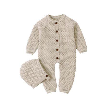 אוברול סרוג לתינוק או לתינוקת לחורף. אוברול לני בצבע חאקי. מידה: 9-12 חודשים אוברולים