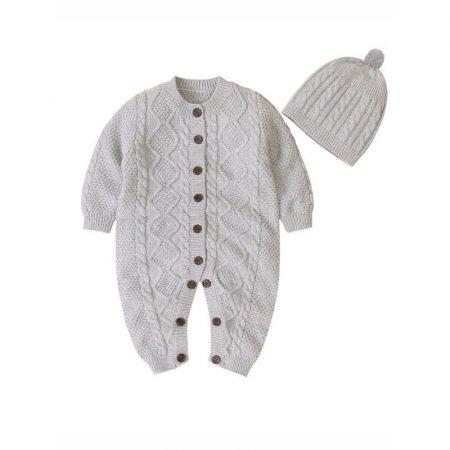 אוברול חם סרוג לתינוק. אוברול ארבל בצבע אפור. מידה: 3-6 חודשים אוברולים
