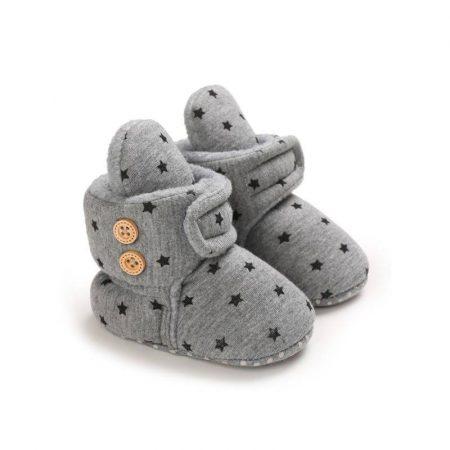 נעל בית לילד/ה. נעל עדי בצבע אפור כהה. מידה: 9-12 חודשים נעליים