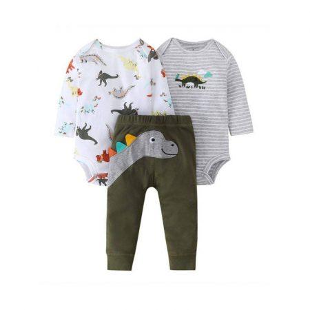 סט אוברולים ומכנסיים דינוזאורים- מידה: 3-6 חודשים בגדי גוף