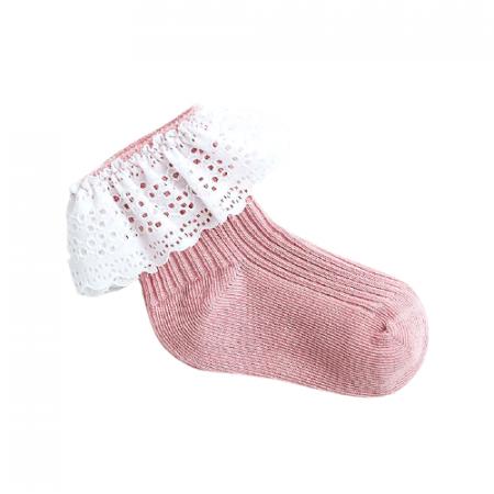 גרב תחרה בצבע ורוד עתיק. מידה: 0-6 חודשים גרביים וגרביונים