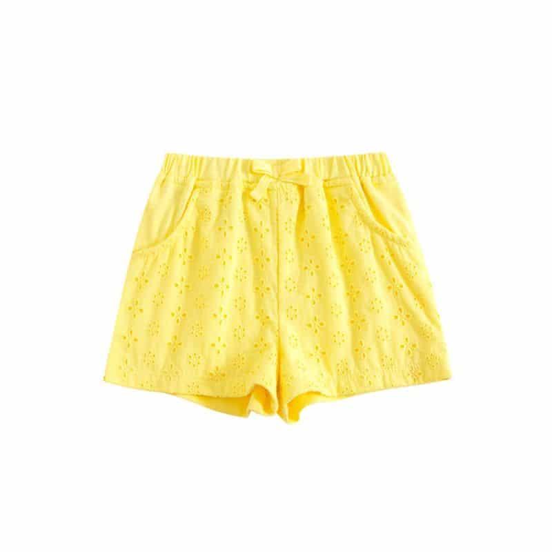 מכנסי תחרה צהוב שורטים