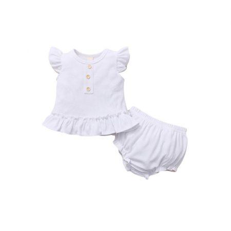 חליפת ריב לבנה- מידה: 12-18 חודשים חליפות