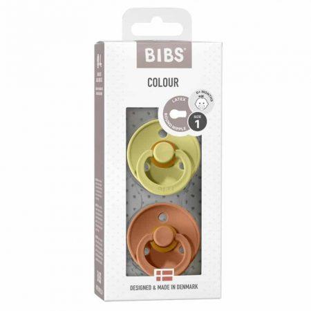 אריזת מוצצי ביבס- צבע אדמה וצבע דשא מוצצי BIBS